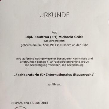 Wir haben eine neue Fachberaterin für Internationales Steuerrrecht! Congratulation Michaela Gräfe!