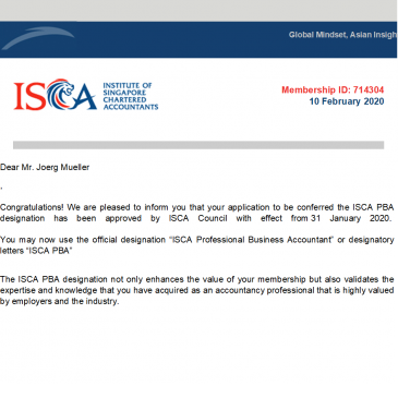 ISCA Professional Business Accountant (Singapore) – Wir beweisen internationale Kompetenz